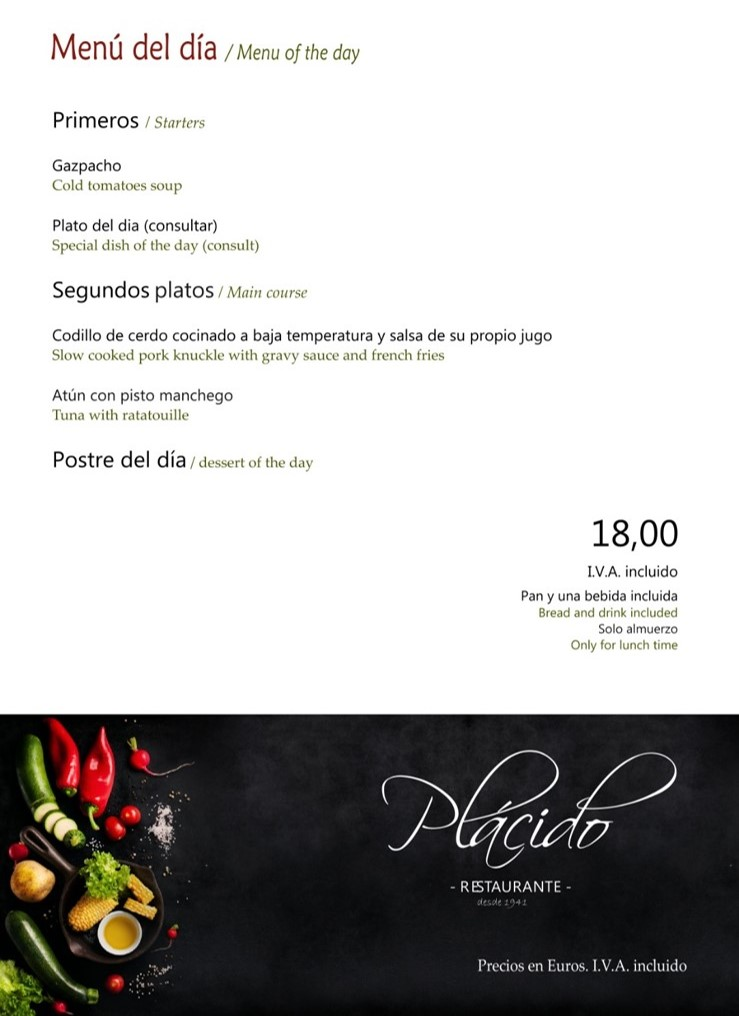 Menú Verano 2020 Restaurante Plácido Toledo