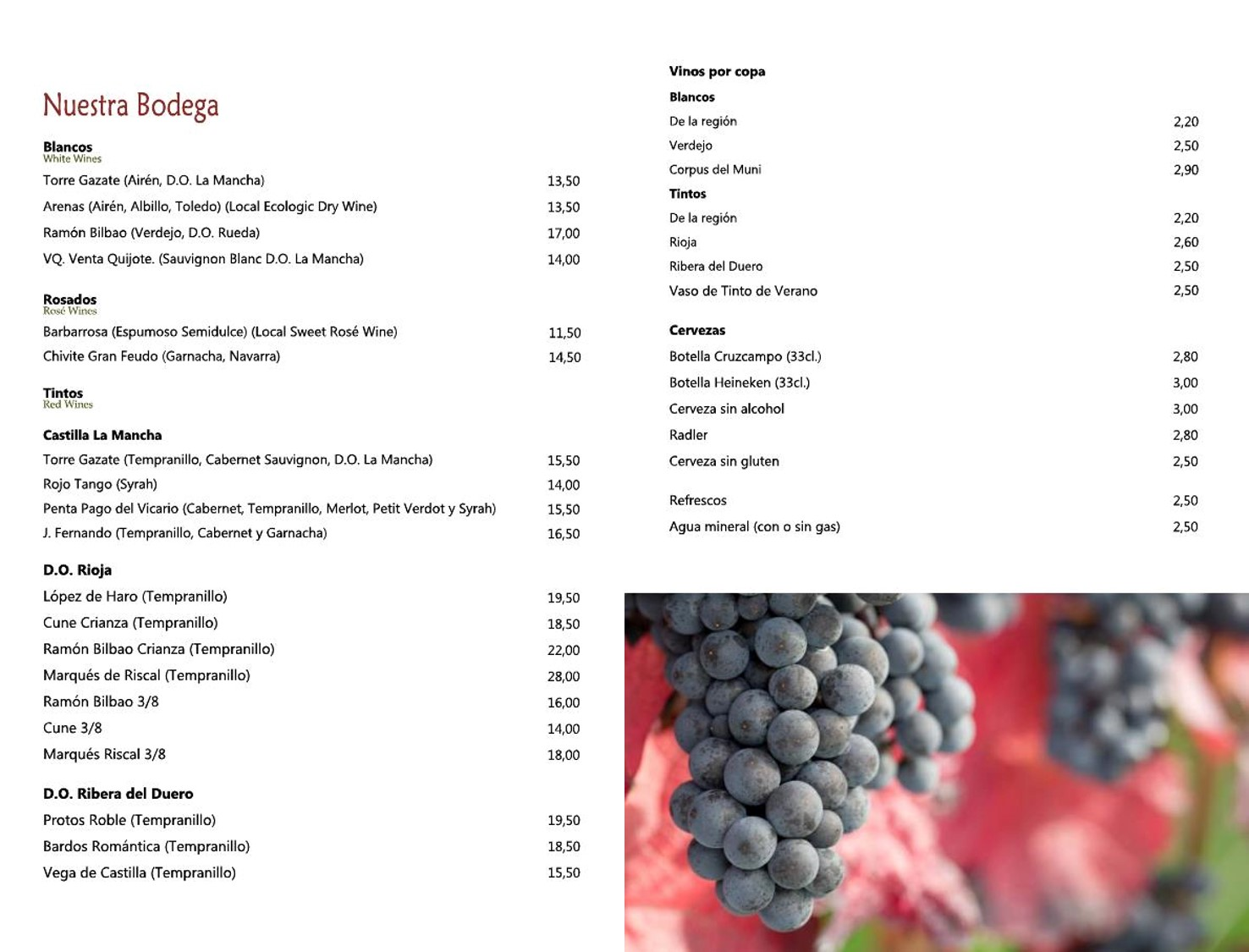Carta de Vinos Restaurante Plácido