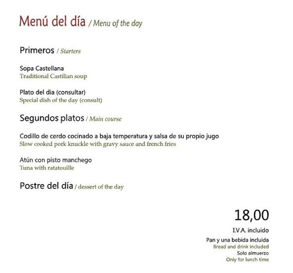 Menú Restaurante Plácido Octubre 2020
