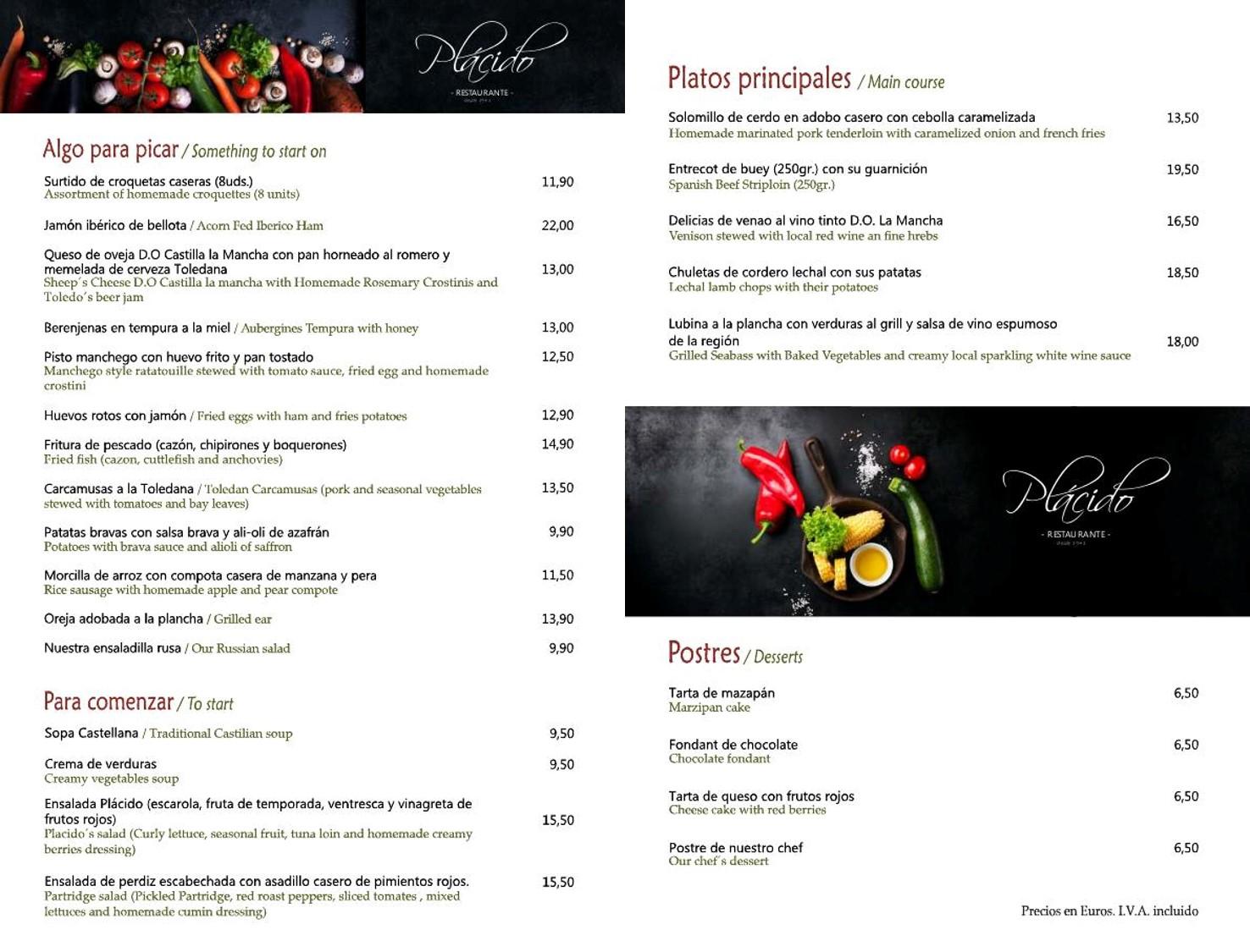 Carta Restaurante Plácido Octubre 2020